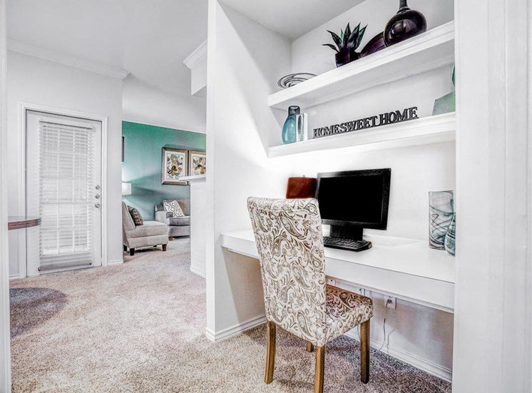 Built in Office, desk at The Remington at Memorial in Tulsa, OK, For Rent. Now leasing 1 and 2 bedroom apartments.
