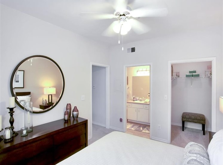 Spacious bedrooms with walk in closets at The Remington at Memorial in Tulsa, OK, For Rent. Now leasing 1 and 2 bedroom apartments.