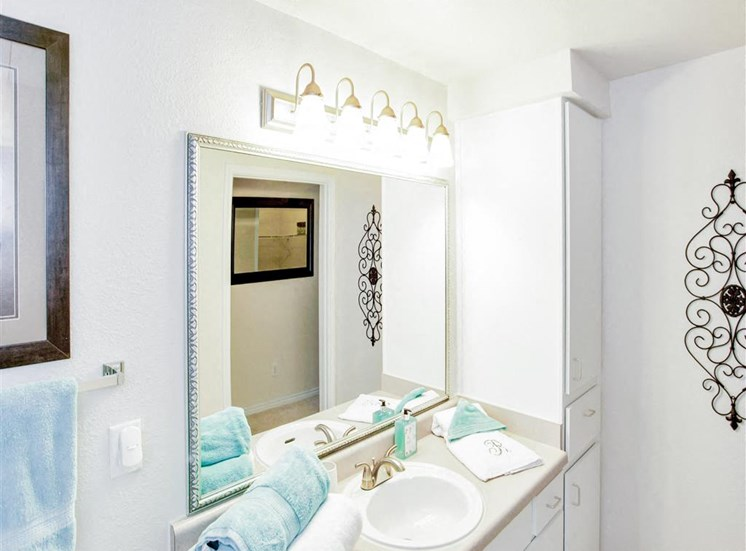 Bathroom vanity at The Remington at Memorial in Tulsa, OK, For Rent. Now leasing 1 and 2 bedroom apartments.