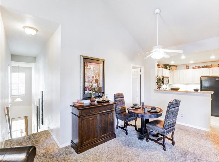 Dining area of Saddle Brook Apartments in North Dallas, TX, For Rent. Now Leasing 1, 2 and 3 bedroom apartments.