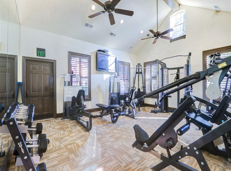 Fully equipped fitness center of Saddle Brook Apartments in North Dallas, TX, For Rent. Now Leasing 1, 2 or 3  bedroom apartments.