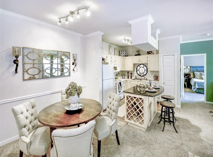 Dining nook and wine storage in kitchens at Cypress Lake at Stonebriar Apartments in Frisco, TX, For Rent. Now leasing 1, 2 and 3 bedroom apartments.