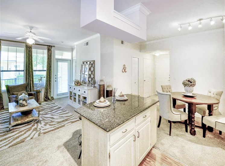 Open concept floorplans at Cypress Lake at Stonebriar Apartments in Frisco, TX, For Rent. Now leasing 1, 2 and 3 bedroom apartments.