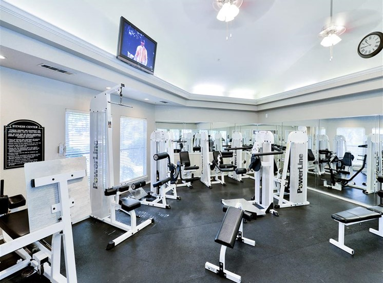 Fitness center with cardio and weight training machines at The Winsted at Valley Ranch in Irving, TX, For Rent. Now leasing 1 and 2 bedroom apartments.