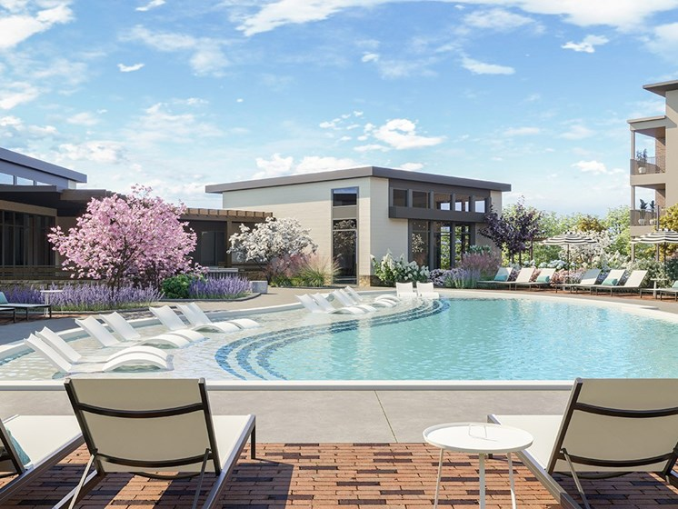 Pool With Sunning Deck at Link Apartments® Linden, Chapel Hill, NC