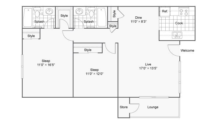 Two Bedroom B3 Floor Plan at The District