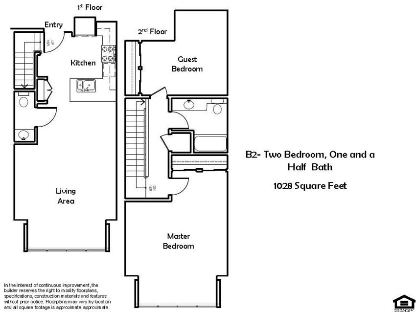 B2 F 2 Bed 1 Bath Floorplan at Pacific Place, CA, 94014