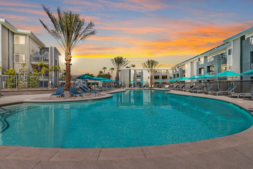 resort style sparkling pool at Pointe Luxe Apartment Homes, San Diego, CA, 92110