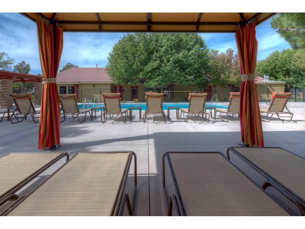 Shaded Lounge Area by Pool at Vizcaya Hilltop, Reno, NV