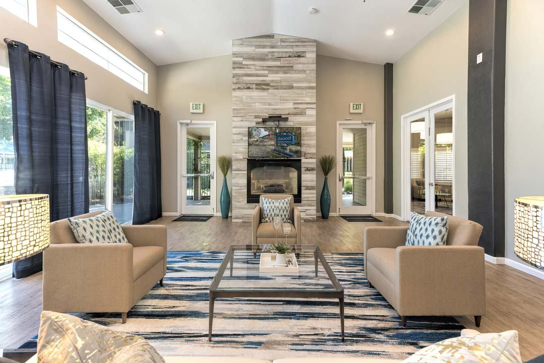 Posh Lounge Area In Clubhouse at Atwood Apartments, Citrus Heights, 95610