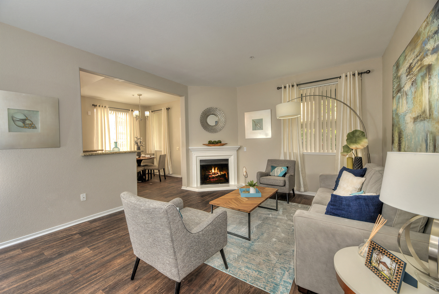 Living Room with Fireplace at Atwood Apartments, California