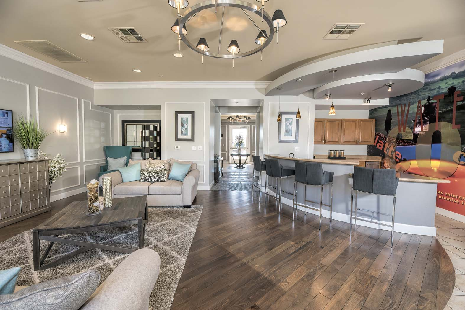 Equipped Kitchen In Clubhouse at Waterstone Apartment Homes, Tracy, 95377