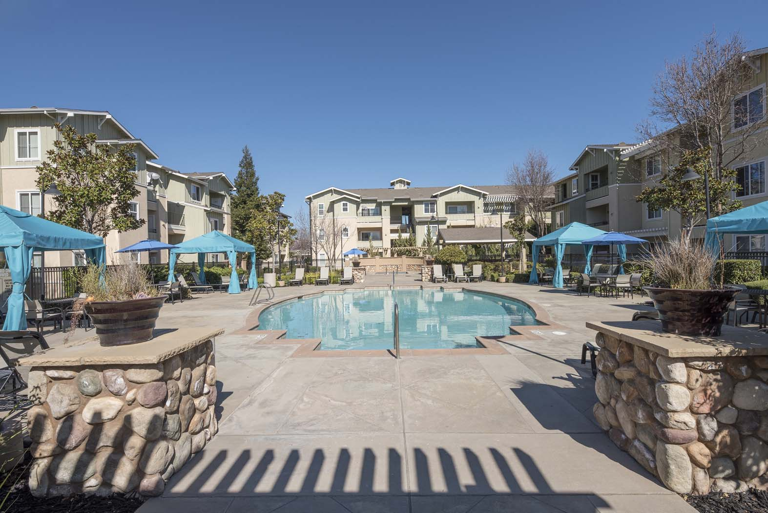 Picturesque Pool And Cabana Setting at Waterstone Apartment Homes, Tracy, CA, 95377
