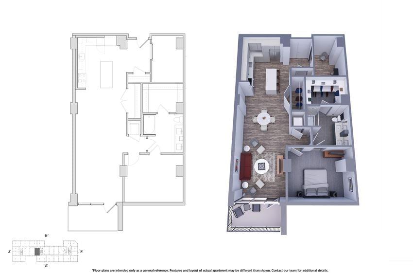 1 Bedroom Den 1.1B Floor Plan - Bromwell