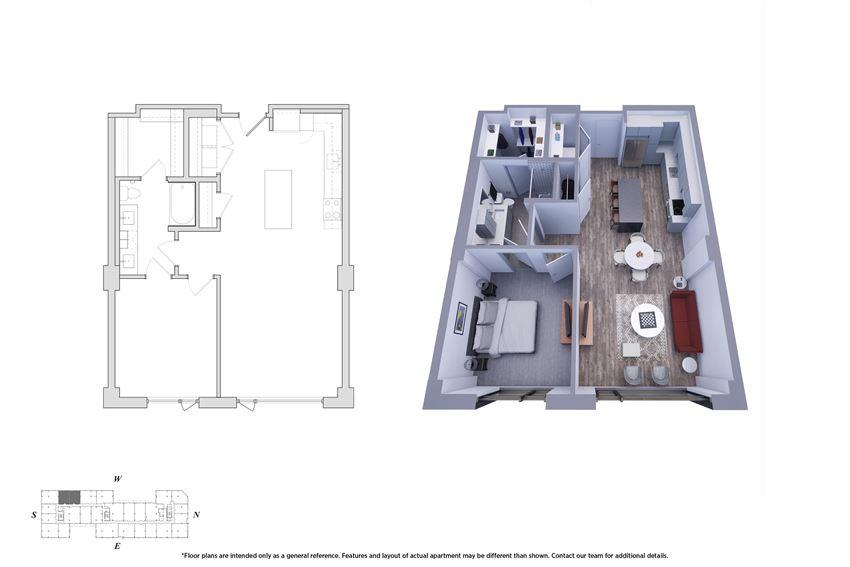 1 Bedroom 1.1D Floor Plan - Bromwell