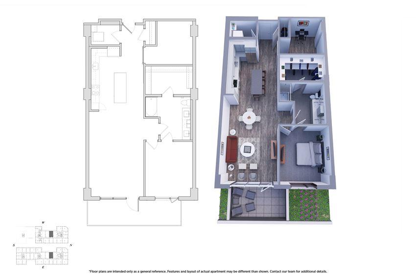 1 Bedroom Den 1.1F Floor Plan - Bromwell