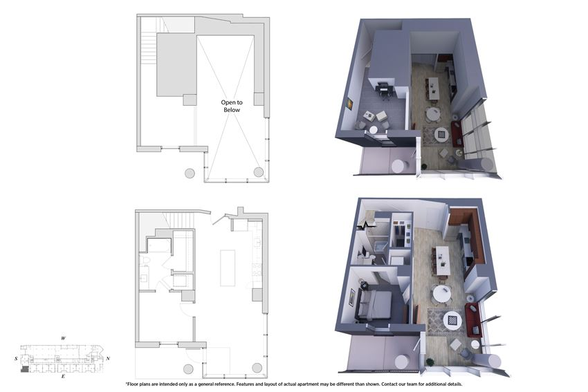 1 Bedroom Townhouse 1M.3B Floor Plan - Bromwell