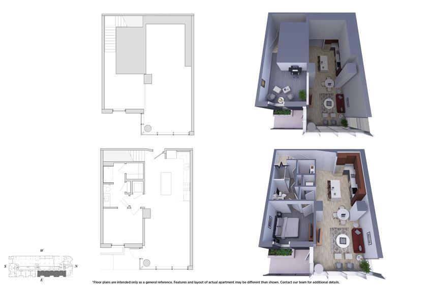1 Bedroom Townhouse 1M.3D Floor Plan - Bromwell