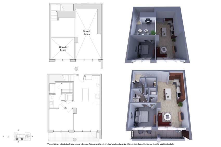 1 Bedroom Penthouse 1M.5B Floor Plan - Bromwell