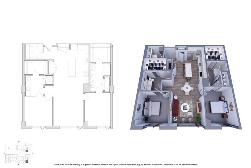 2 Bedroom 2.1D Floor Plan - Bromwell