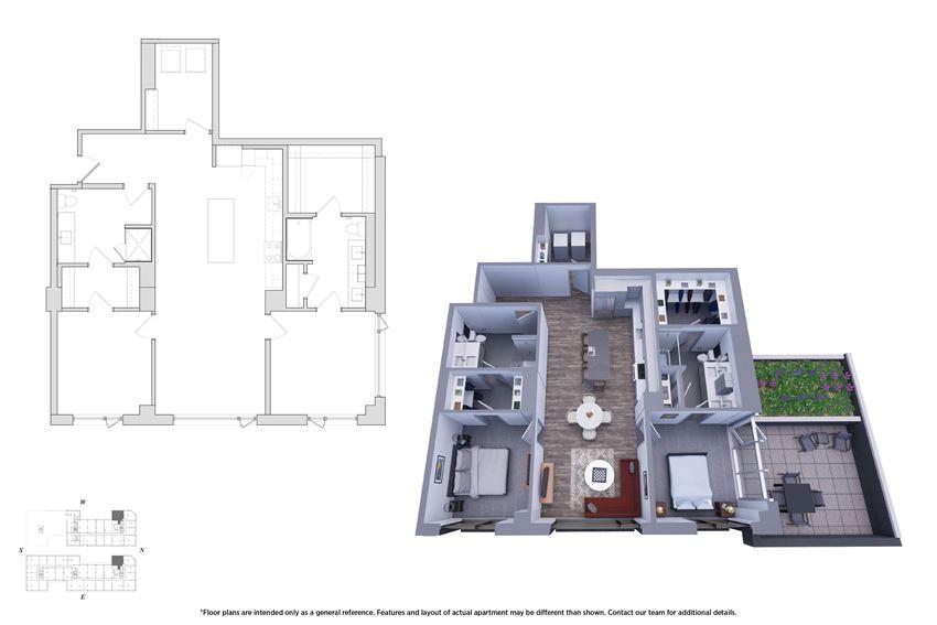 2 Bedroom 2.6 Floor Plan - Bromwell