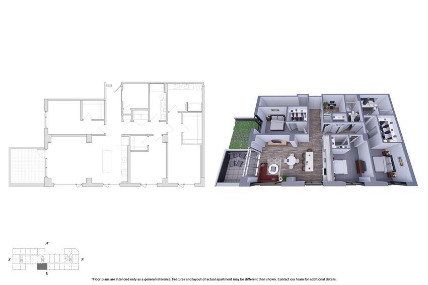 3 Bedroom Den 3.2a Floor Plan - Bromwell
