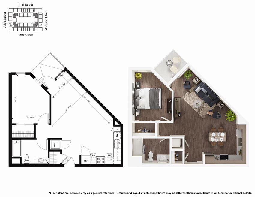 1 Bedroom A10 Floor Plan - Lydian