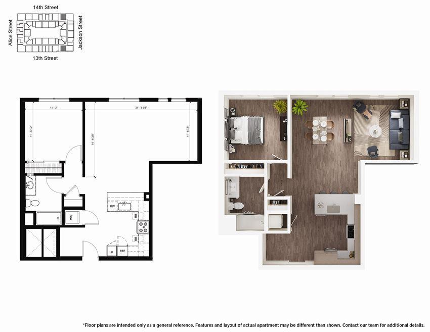 1 Bedroom A14 Floor Plan - Lydian
