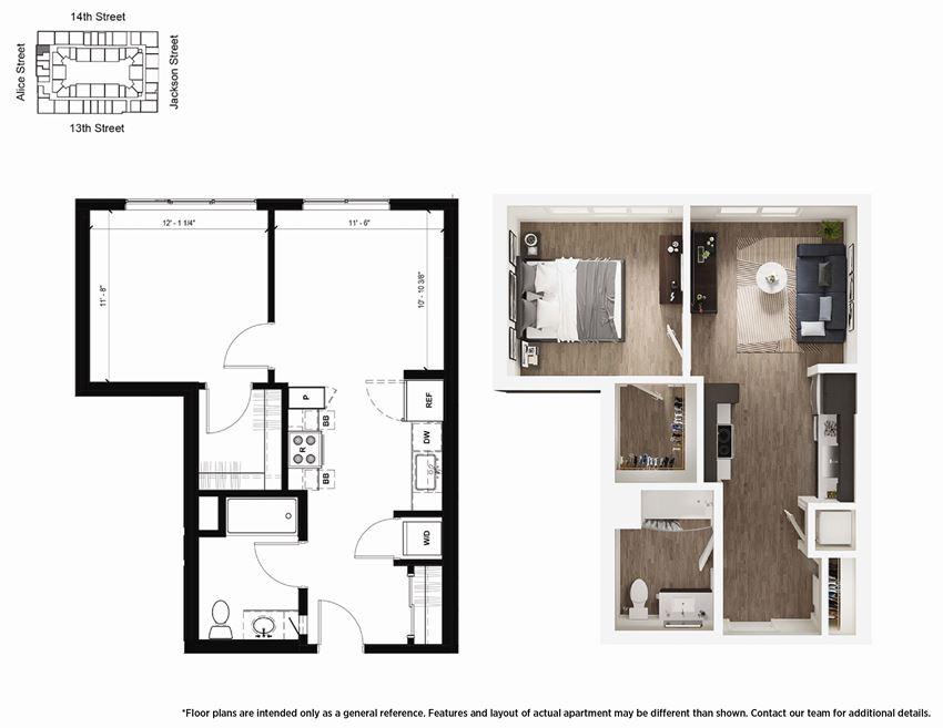 1 Bedroom A4 Floor Plan - Lydian