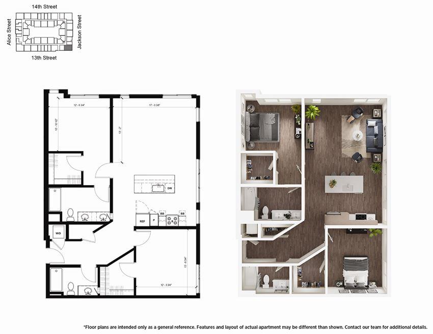 2 Bedroom B9 Floor Plan - Lydian