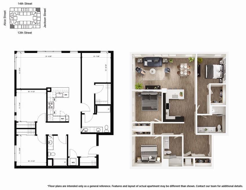 3 Bedroom C1 Floor Plan - Lydian