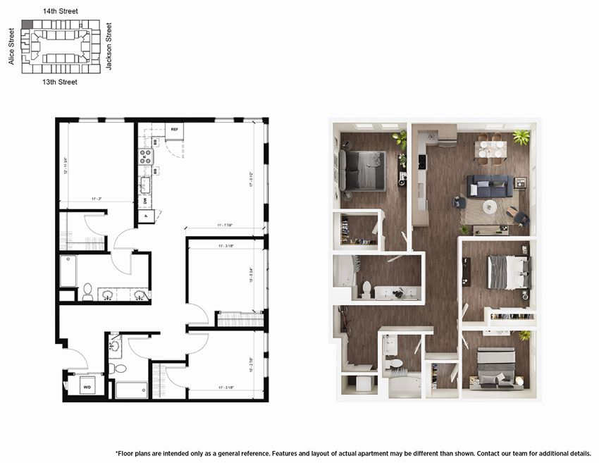 3 Bedroom C2 Floor Plan - Lydian