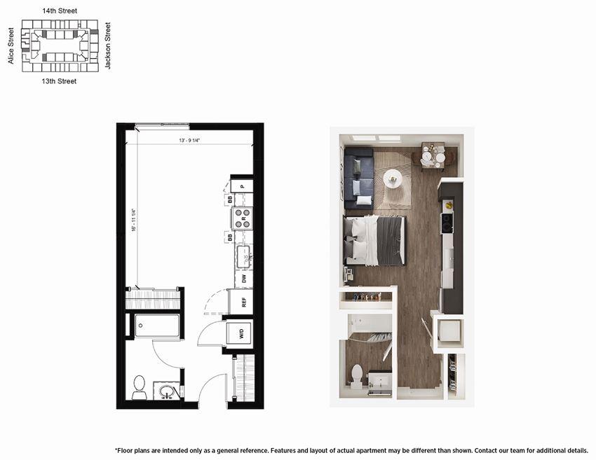 Studio S1 Floor Plan - Lydian