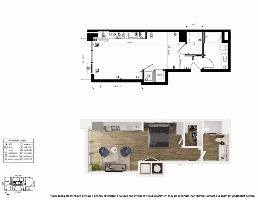 Studio S3 Floor Plan - The Merian