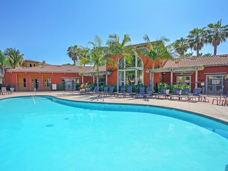 Upscale Lap and Lounge Swimming Pools with Cabana, at Missions at Sunbow Apartments, 5540 Ocean Gate Lane, CA