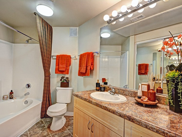 Large Soaking Tub In Master Bathroom with A Tile Surround, at Missions at Sunbow Apartments, Chula Vista, California