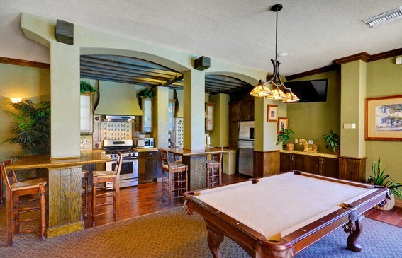 Clubhouse with TV, Fireplace, Kitchen and Billiards Game, at Casoleil, 1100 Dennery Rd, CA