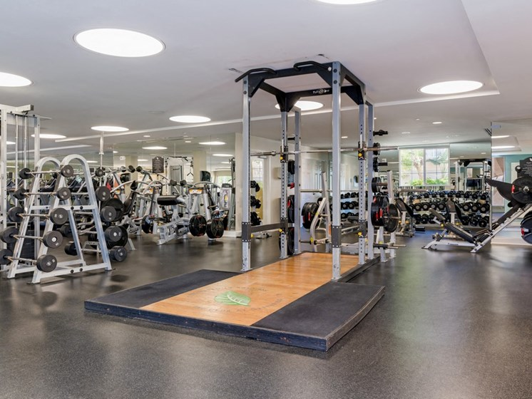 24-Hour Fitness Center With Free Weights at Greenfield Village, San Diego, California