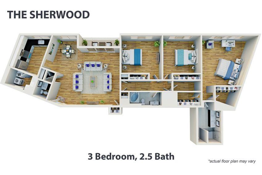 3 Bedroom, 2.5 Bath