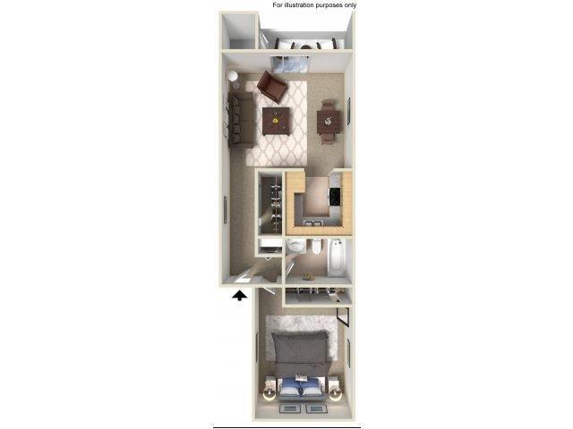 Oak Creek 1Bedroom_Floor Plan
