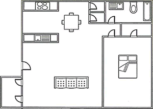 1 bed, 1 bath 645 square foot floor plan