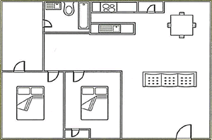 2 bed, 1 bath 1100 square foot floor plan