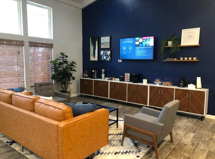 Large couch, TV, and refreshment bar at Aspen Run Clubhouse