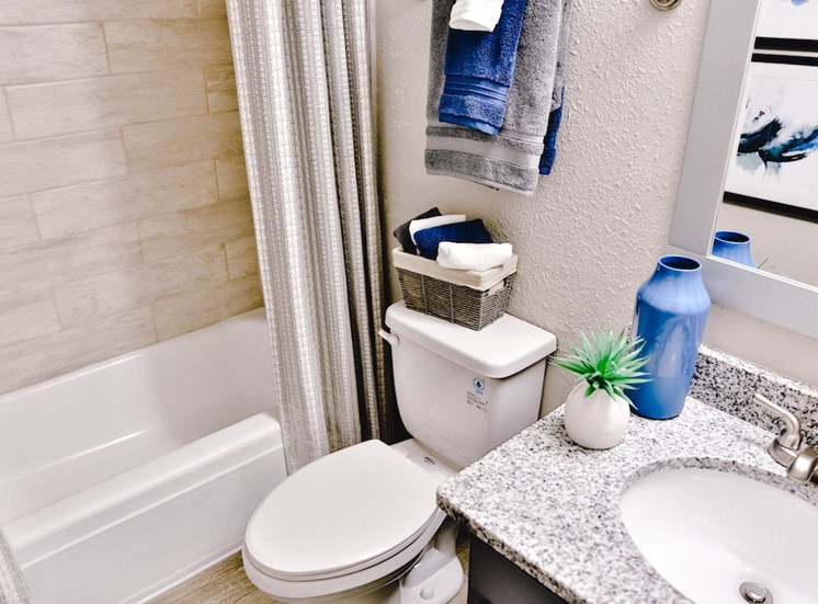 Bathroom with tile surround tub, and granite countertop sink at The Jameson Apartments, Homewood, AL