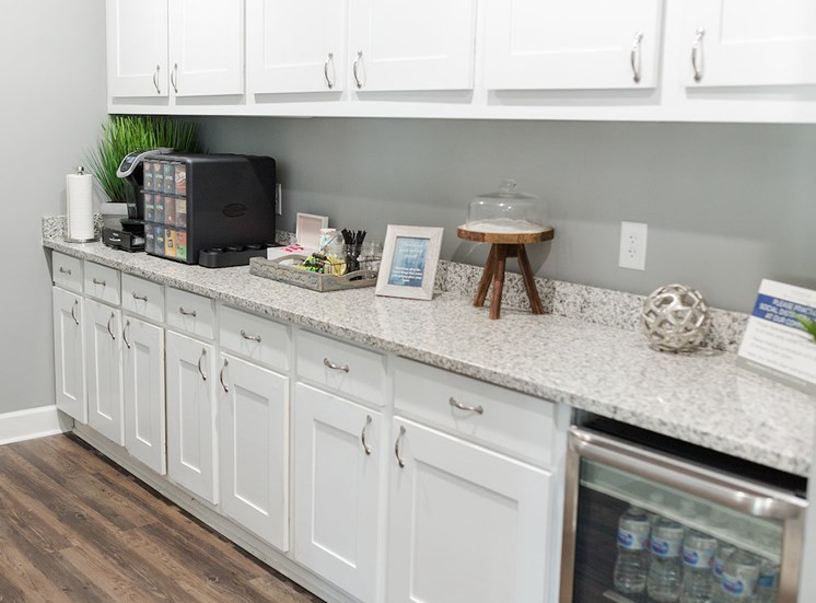 large coffee and refreshment station in clubhouse at The Jameson Apartments, Homewood, AL