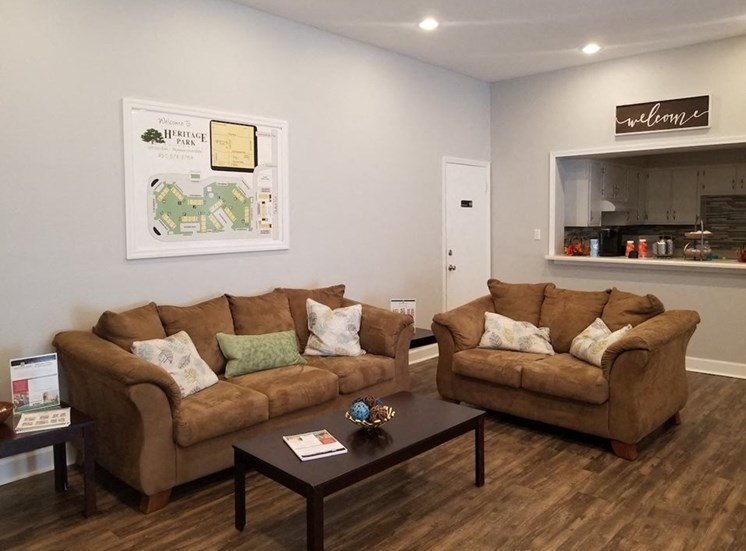 Comfortable couches and coffee table in clubhouse at Aspen Run II