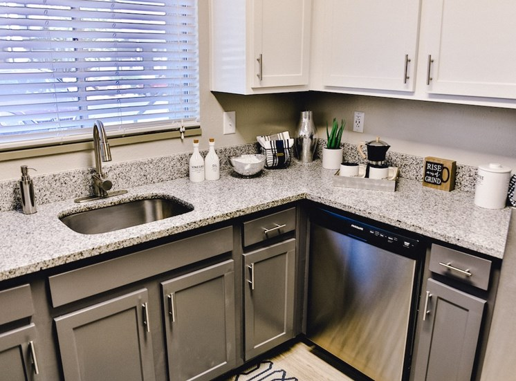 kitchen with granite countertops and stainless steel sink, dishwasher, and fridge at The Jameson Apartments, Alabama, 35209