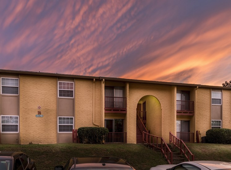 gorgeous sunset over apartment building at Reserve at Midtown Apartments, Florida