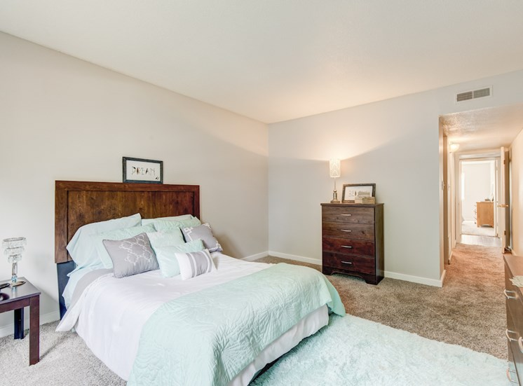 spacious bedroom with model furnishings at Reserve at Midtown Apartments, Tallahassee, Florida