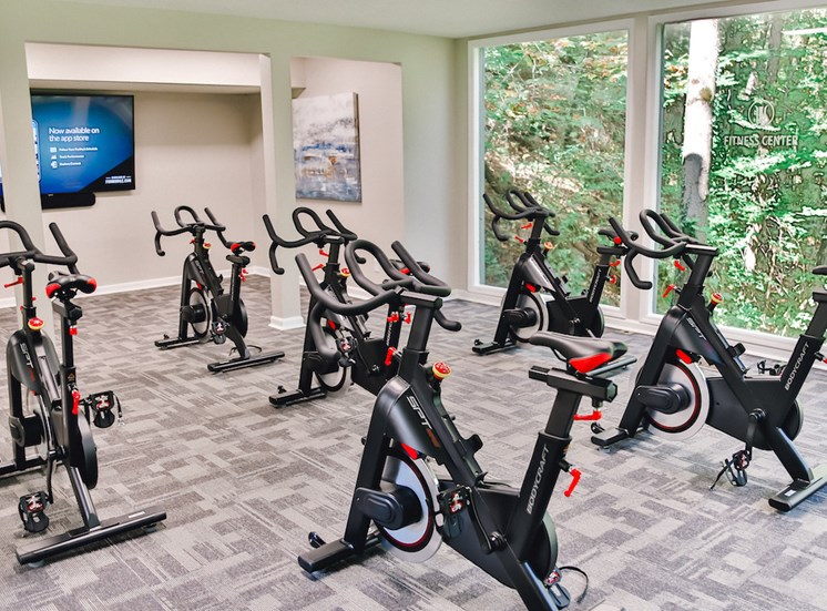 large spin studio with fitness on demand and large windows